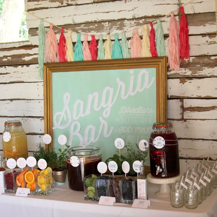 DIY Drink Stations - love this Sangria station for a bridal shower!