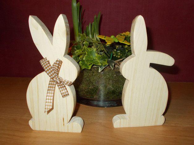 Osterhasen - Osterhasen aus Holz im 2er Set,Holzosterhasen 2er - ein Designerstück von Holzgaga bei DaWanda