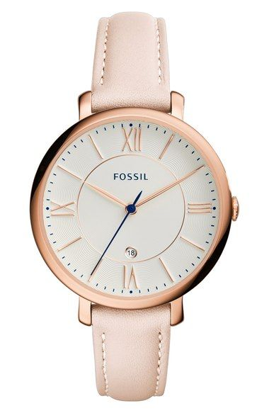 Fossil 'Jacqueline' Leather Strap Watch, 36mm available at #Nordstrom