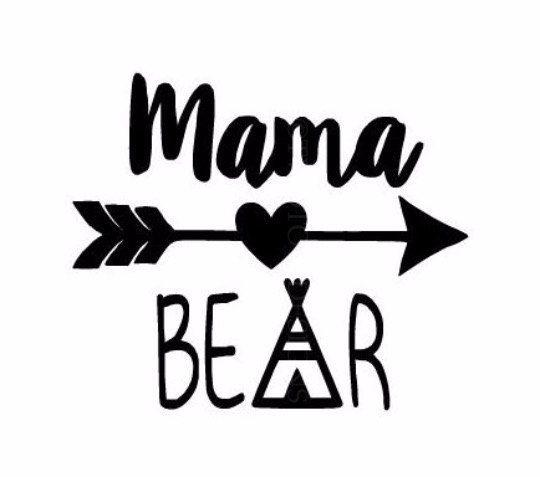 mama bear decal  yeti  rtic   glitter vinyl available