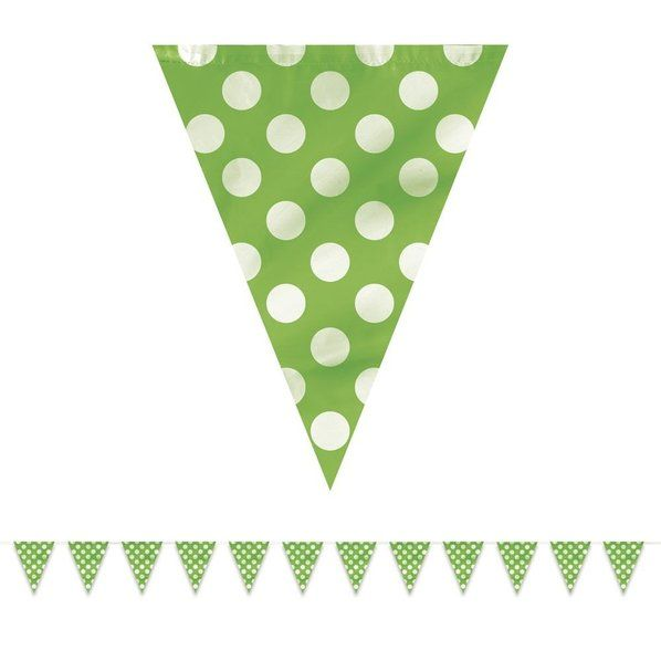 Check out Lime Dots 12' Flag Banner Decoration - Banners & Decorations from Birthday In A Box