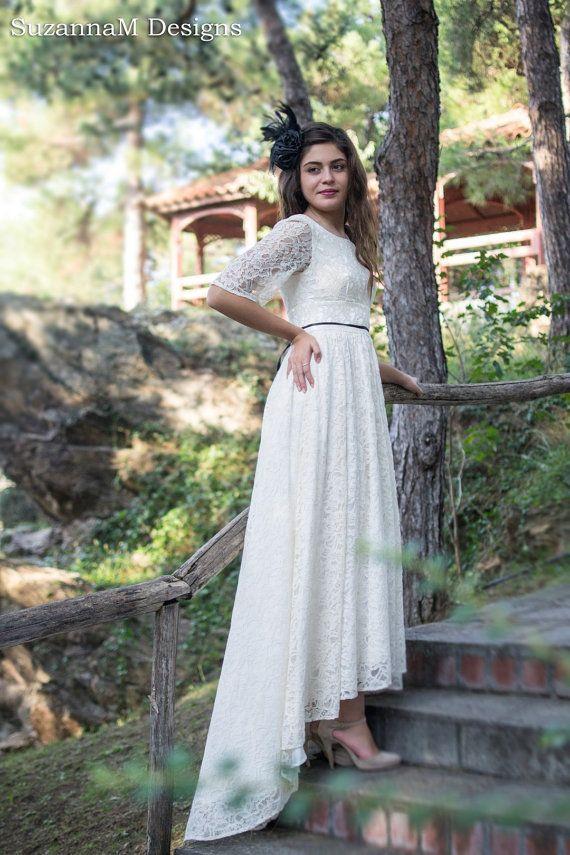 Cream Ivory Lace Wedding Dress 50s Wedding by SuzannaMDesigns