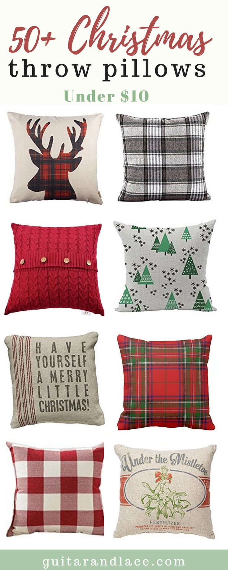 Christmas Throw pillows for the thrifty spenders! Pillows for under $10. Farmhouse Christmas Decor, Hygge Christmas Decor, Scandinavian Christmas Decor, Blue and White Christmas, traditional christmas