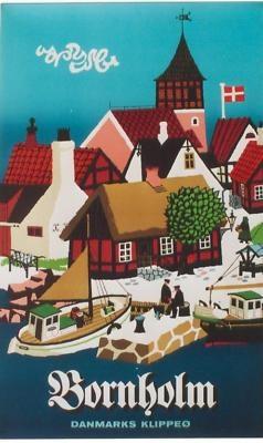 vintage poster BORNHOLM DENMARK ISLAND SHIP 60