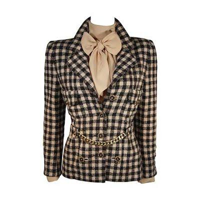 3 parçalı #Chanel takım (Fular yaka bluz, ceket ve kemer)