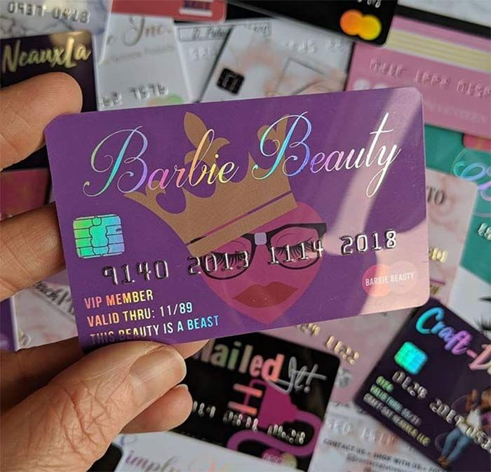 Plastic Credit Card Business Cards With Embossed Numbers Beauty Business Cards Cute Business Cards Credit Card Design