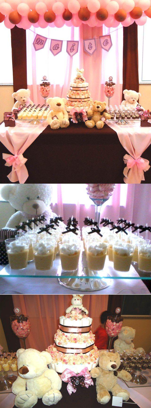 Chá de Bebê feito pela nossa cliente Kelen de São Carlos/SP para a Maitê. Super fofa a decoração com ursos de pelúcia nas cores marrom e rosa. Bolo de fraldas e docinhos feito por ela mesma, um cap…