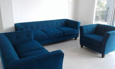 servis sofa ganti kain tambah busa dan bikin baru 08119354999: blue colour dynamic sofa full units 1+2+3 seater R...