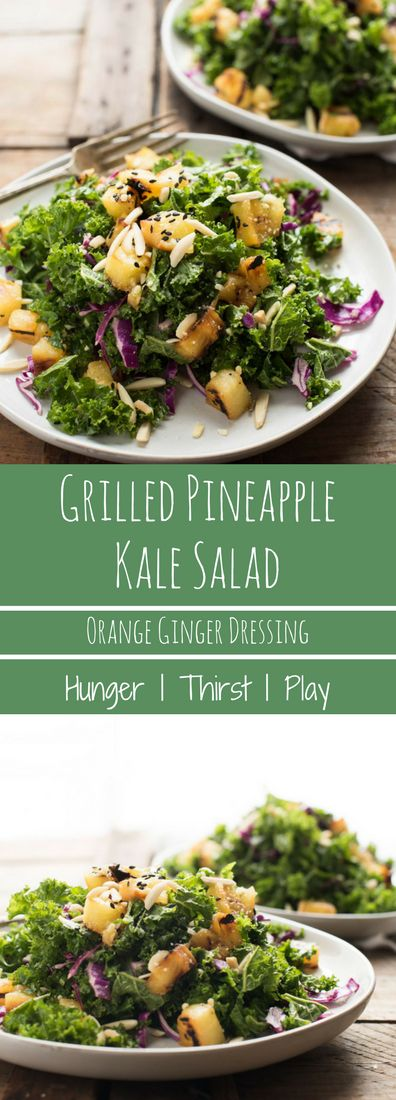 Light, healthy and perfect for summer prep!  Grilled Pineapple Kale Crunch Salad is the perfect beach dreaming escape.  Crunchy kale and red cabbage, caramelized grilled pineapple and tangy orange ginger dressing.