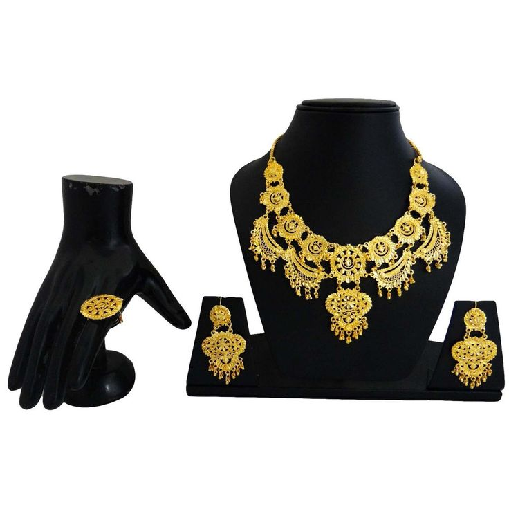 Floral Design India Women Gold Plated Necklace Earring Set Ethnic Jewelry #iba