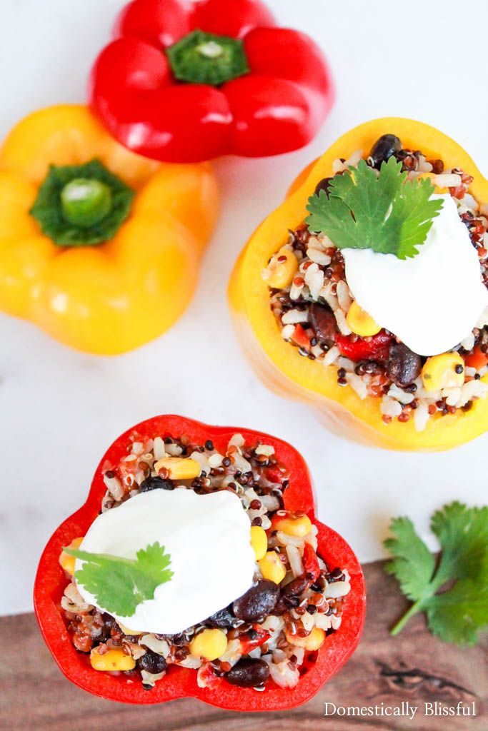 Southwest Grains Stuffed Peppers are a delicious appetizer, side, or main dish for a summer party or simply a dinner for two! Link to a digital coupon to get $.75 off (with the purchase of 3 Suddenly Salads) in July! #ad #SuddenlySaladSummer #Publix Recipe for Southwest Grains Stuffed Peppers at @blissfulmiller