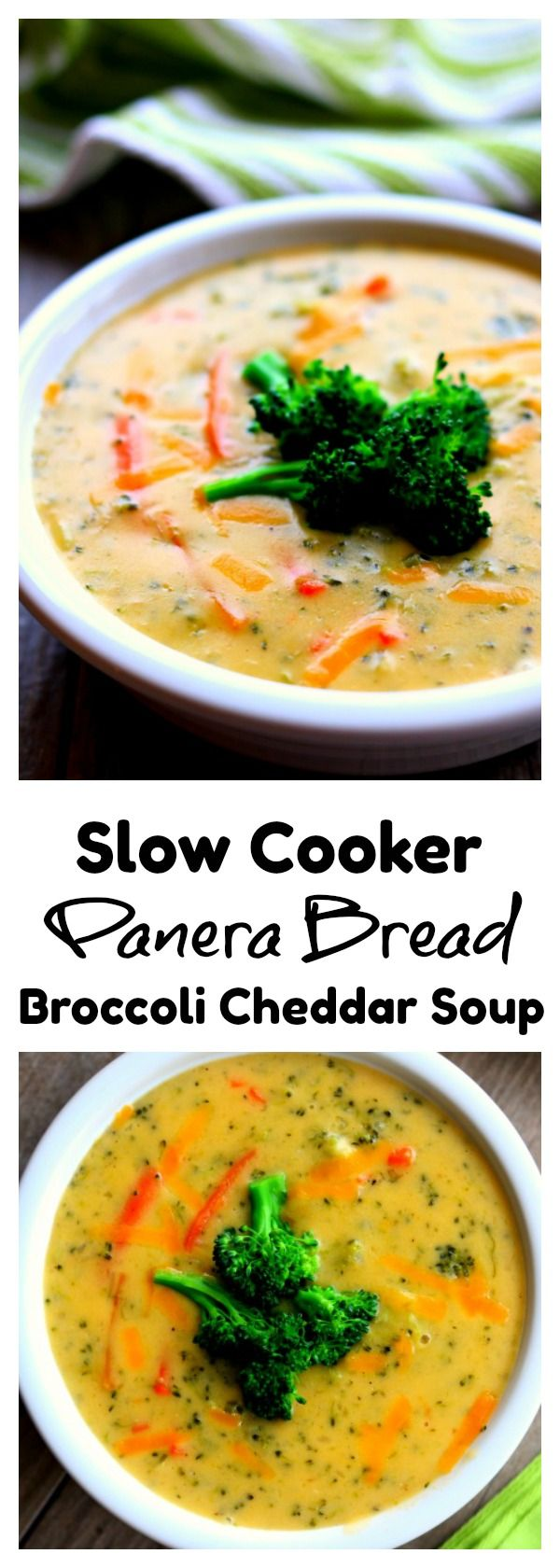 Slow Cooker Panera Broccoli Cheddar Soup–reminiscent of Panera Bread's broccoli cheddar soup this slow cooker version has chopped broccoli, shredded carrots and celery simmered in a velvety smooth cheese sauce. I believe this version is just as good or better than you could order at any restaurant! Try it for dinner this week. #crockpot #copycatrecipe #slowcooker
