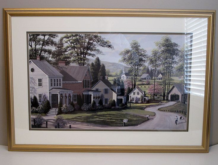 """Large Framed Print, """"The Covered Bridge"""", by Bill (William) Saunders $150 CAD"""