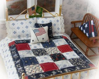 "Miniature Reversible Quilt with 2 Matching Bed Pillows & 2 Decorator Pillows, ""Patriotic Pride"" - 1:12 Scale"