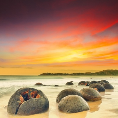 Moeraki Boulders at sunset. New Zealand