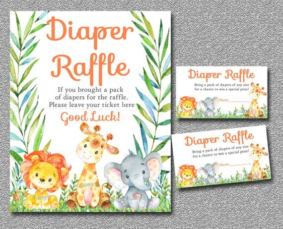 Monkey Diaper Raffle cards Monkey Diaper Raffle card Safari Baby Shower Jungle Baby Shower Baby Shower printable Diaper Raffle insert