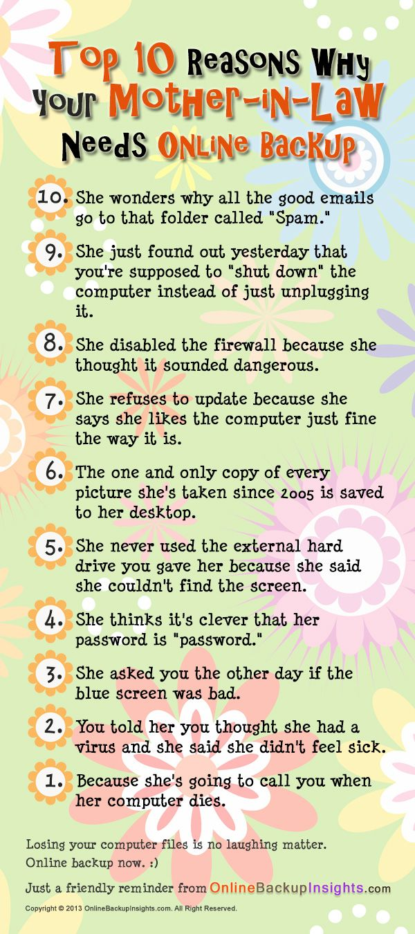 Is your mother-in-law tech savvy? Check out this wacky top 10 list >> top 10 list mother-in-law, funny top 10 list mother-in-law, wacky top 10 list mother-in-law, hilarious top 10 list mother-in-law --> www.onlinebackupinsights.com/top-10-reasons-mother-law-needs-online-backup