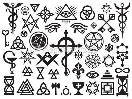 sorcery and magic symbols  | Medieval Occult Signs And Magic Stamps — Stock Vector © Photon ...