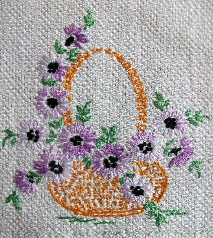 The 217 Best Embroidery Floral Baskets Images On Pinterest Flower