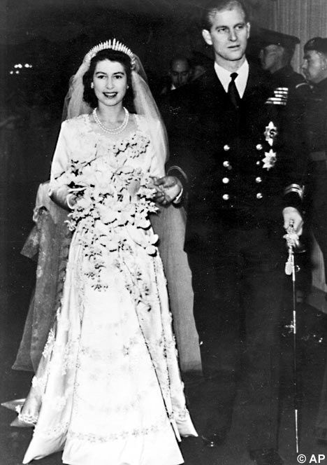 Here comes the bride: the Queen and Prince Philip walking down the aisle in 1947