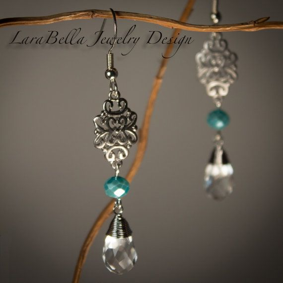 Paisley pattern pewter drop french hook SP earrings with sparkling tear drop wire wrapped briolette drop crystal pendants connected by blue lustre beads. Stunning! 991959ESP