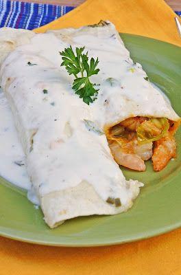 Roasted Shrimp Enchiladas with Jalapeño Cream Sauce ~ The Kitchen Life of a Navy Wife