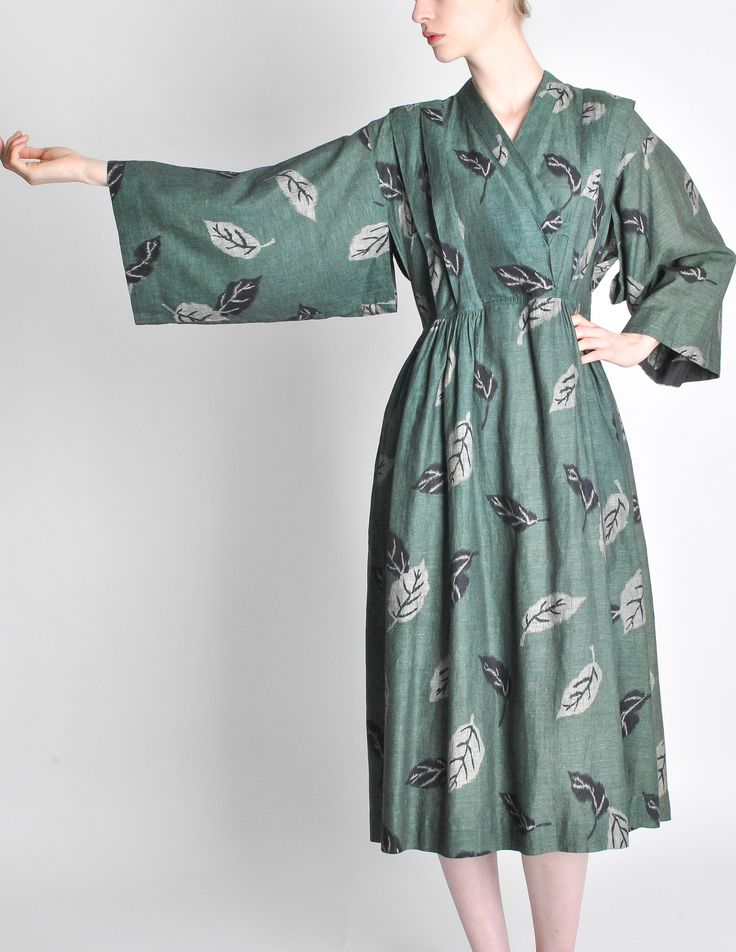 Kenzo Vintage Green Leaf Linen Kimono Dress