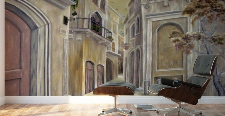 Interior Decor, Inspiration, earthly colors, brown, medieval, town, buildings, alley, Mural Print