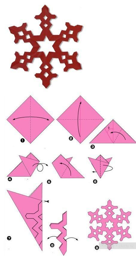 Как вырезать снежинки из бумаги  - поделки своими руками, простые схемы