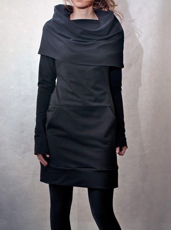 Capot noir cou poche tunique par emilyryan sur Etsy