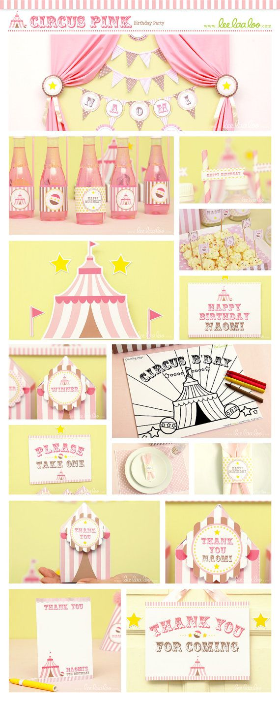 Circus Birthday Party Package Collection Set Mega by LeeLaaLoo, $35.00