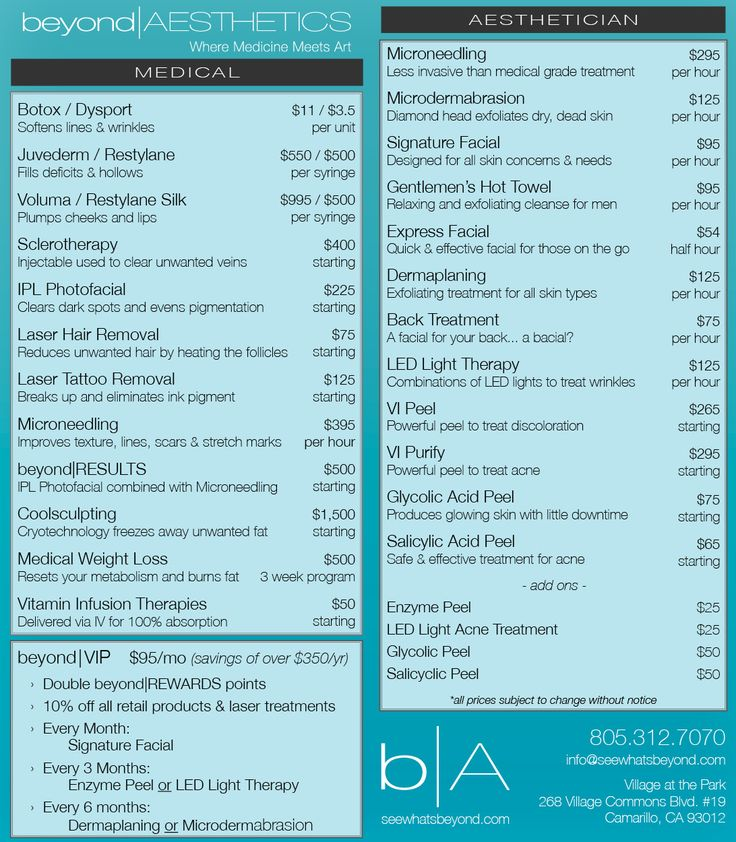 Menu | Beyond Aesthetics Camarillo's Newest Medical Spa #beyondaesthetics #medspa #Camarillo