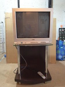 TV Stand with glass top and working Akai TV with remote Calgary Alberta image 1