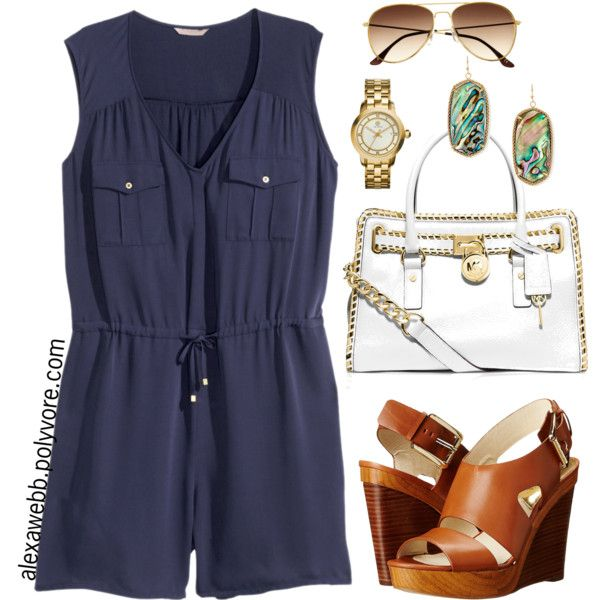 Plus Size Playsuit by alexawebb on Polyvore featuring H&M, MICHAEL Michael Kors, Kendra Scott, Tory Burch, outfit, plussize, plussizefashion, alexawebb and PolyvorePlus