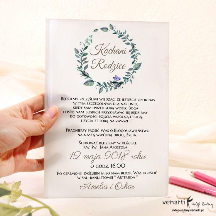 Zielone Liscie Szklane Zaproszenia Dla Rodzicow Wedding Planning My Wedding Day Wedding Decorations
