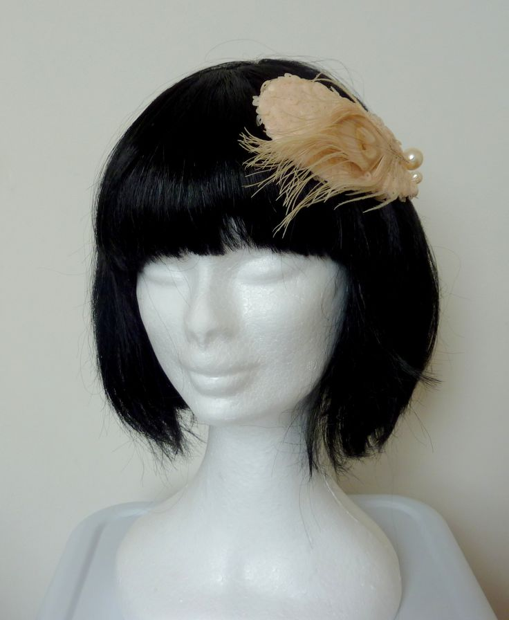 pale pink sequins, cream peacock feather and pearl headpiece