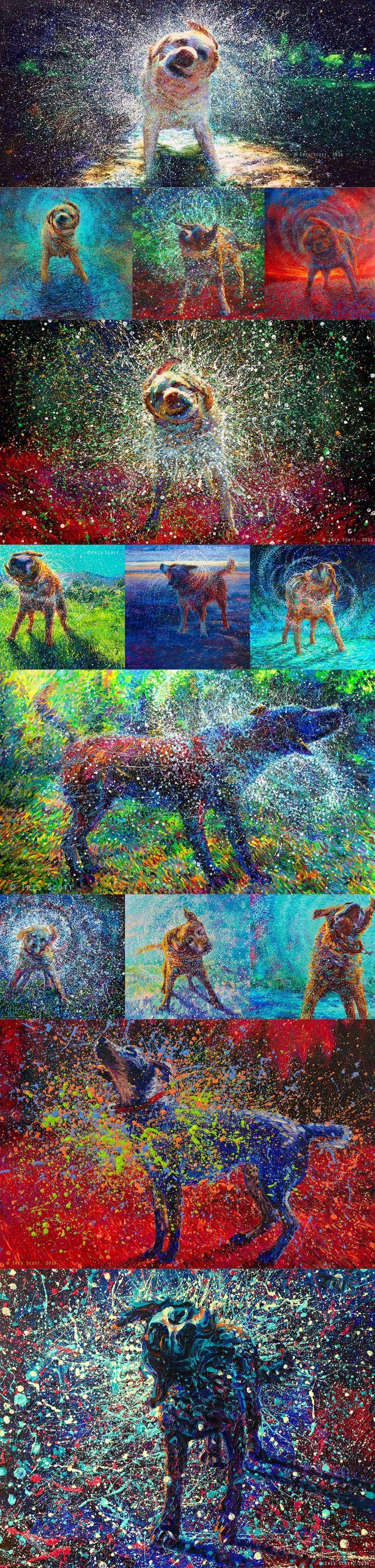iris scott, art, painting, finger paintings, animals, dogs