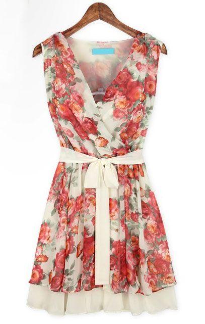 Pink Sleeveless Floral Bandeau Belt Pleated Dress - Sheinside.com