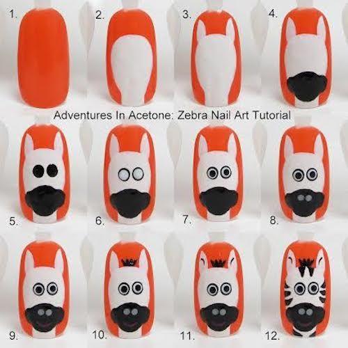 Maquillaje de uñas con cebra paso a paso | Decoración de Uñas - Manicura y Nail Art