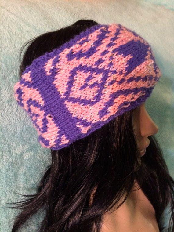 Abstract knit headband, fair isle, pink headband, purple headband, winter earwarmer