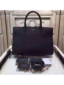 replica ysl - small cabas rive gauche bag in black grained leather