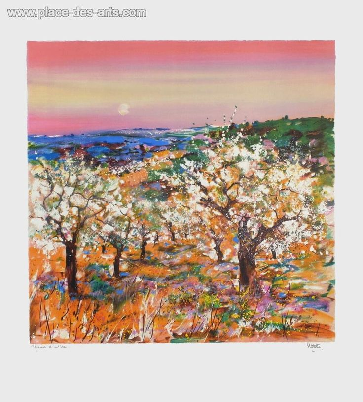 Les arbres en fleurs, Lithograph from the artist  HOSOTTE Georges, Signed and numbered in pencil