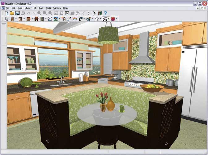 Architecture virtual kitchen cabinet designer in big kitchen with a