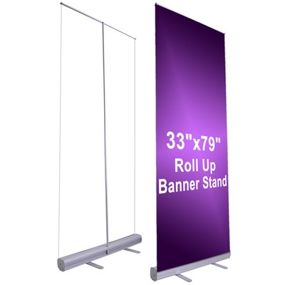 professional 33 x79 retractable roll up banner stand. Black Bedroom Furniture Sets. Home Design Ideas