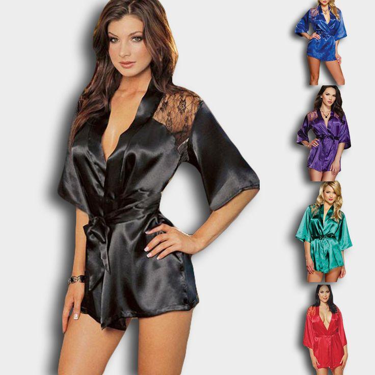 חדש הלבשה תחתונה סקסי סאטן תחרה שחור קימונו אינטימי הלבשת גלימת לילה שמלת Nress הלבשת לילה נשים בתוספת גודל XXXL
