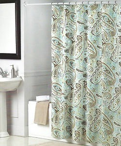 Dream At Home Peacock Alley Blue, Chocolate Brown, Tan Paisley Shower  Curtain