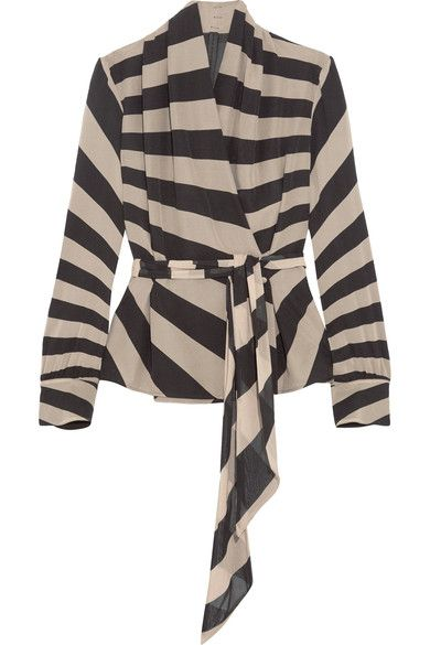 Gareth Pugh - Striped Silk-blend Chiffon Wrap Top - Neutral - IT40