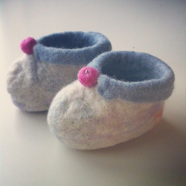 White - grey  felted baby booties.