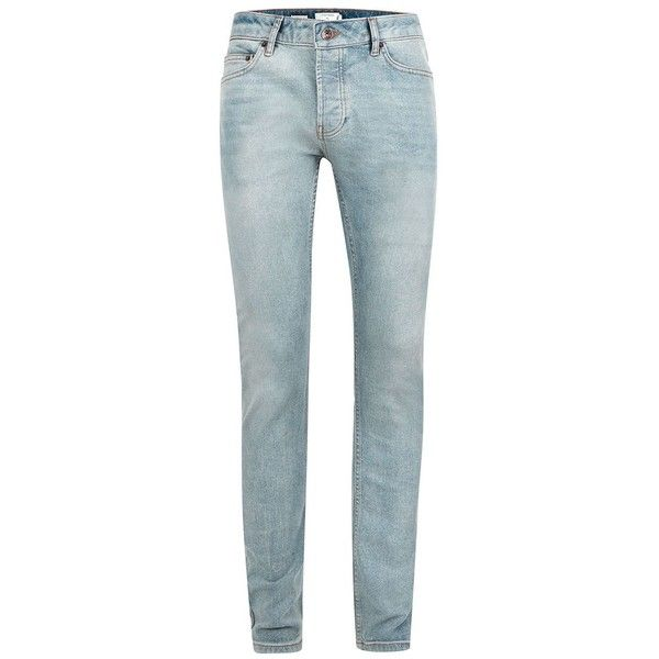 TOPMAN Light Wash Blue Stretch Skinny Jeans ($46) ❤ liked on Polyvore featuring men's fashion, men's clothing, men's jeans, blue, mens stretchy jeans, mens blue jeans, mens button fly jeans, mens skinny fit jeans and mens skinny jeans