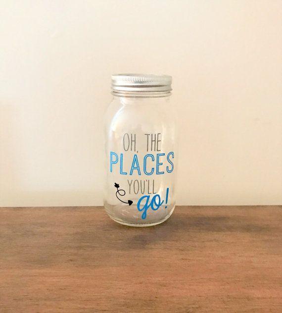 Oh The Places You'll Go//Mason Jar Piggy by PrimrosePoppyShop